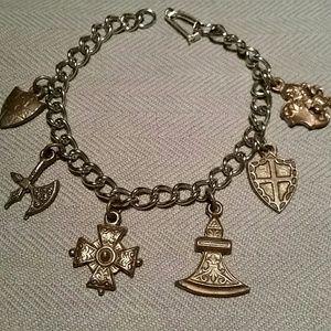 "Very Rare Vintage French Charms Bracelet 7.5"""